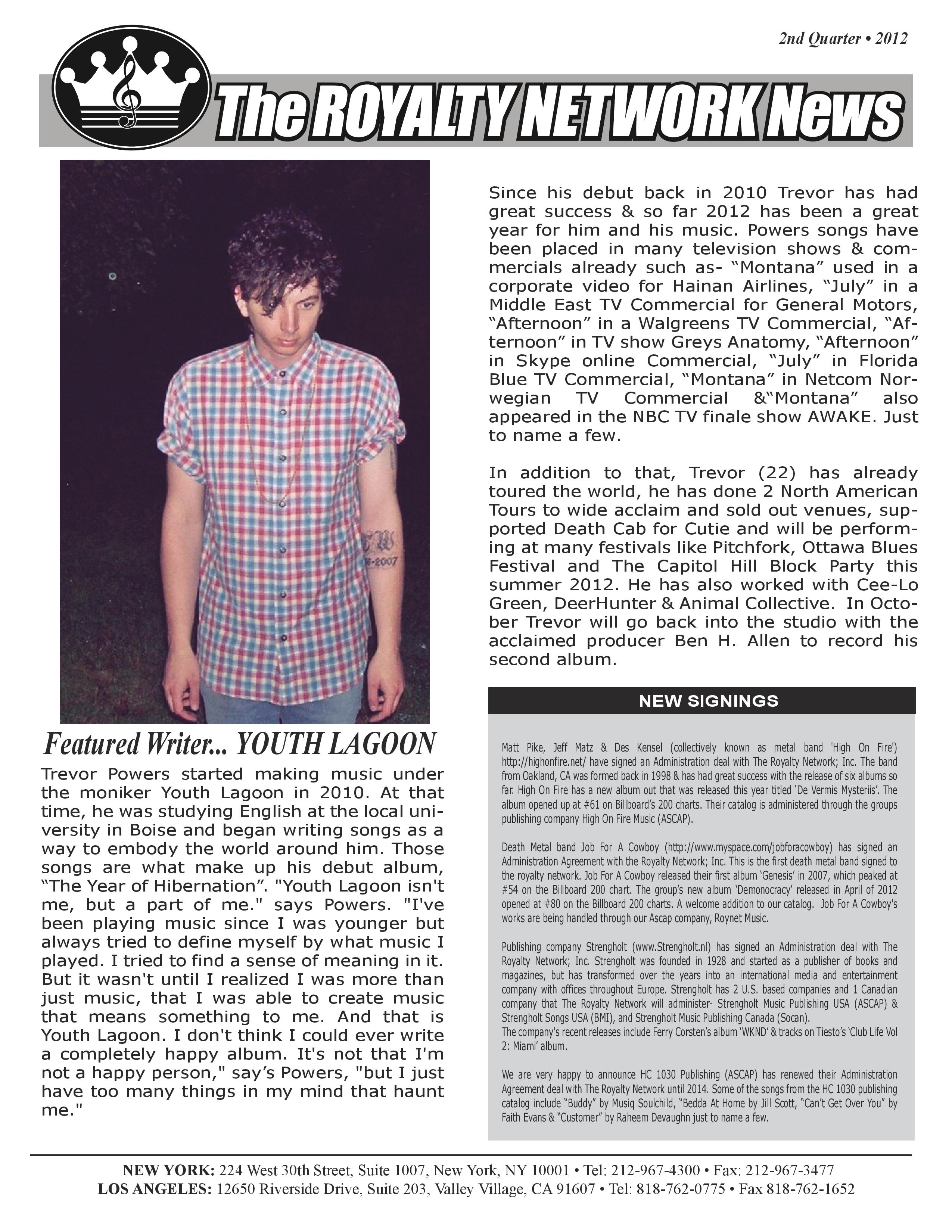 2nd Quarter 2012 Edition of the Royalty Newtork News.
