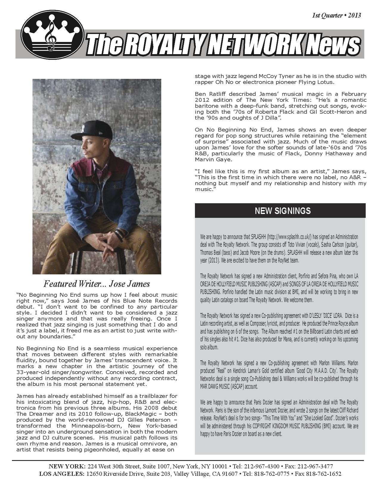 1st Quarter 2013 Edition of the Royalty Newtork News.