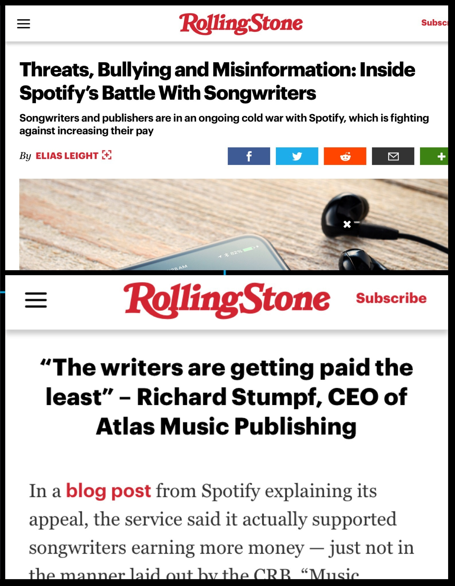 Rolling Stone: Threats, Bullying and Misinformation: Inside Spotify's Battle With Songwriters