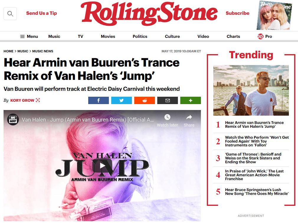 """Rolling Stones feature: Hear Armin van Buuren's Trance Remix of Van Halen's """"Jump"""""""