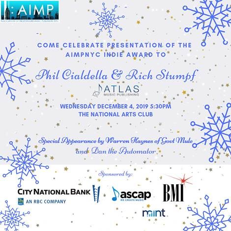 Grammy-Winning Artist Warren Haynes to Present AIMP New York Chapter Indie Award to Atlas Music Publishing at December 4th Holiday Party