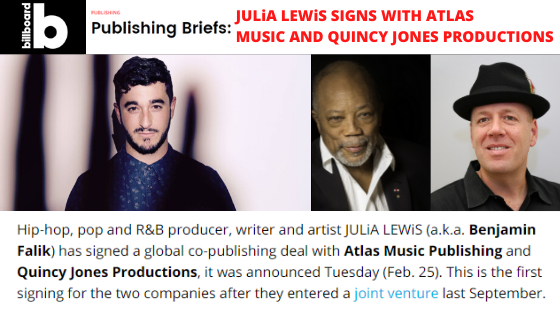 Billboard Feature: JULiA LEWiS SIGNS WITH ATLAS MUSIC AND QUINCY JONES PRODUCTIONS