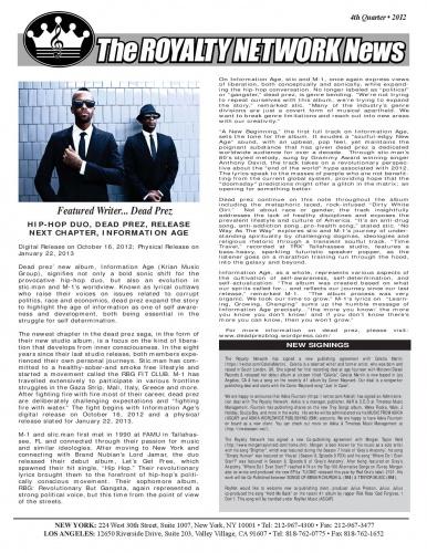 4rd Quarter 2012 Edition of the Royalty Newtork News.