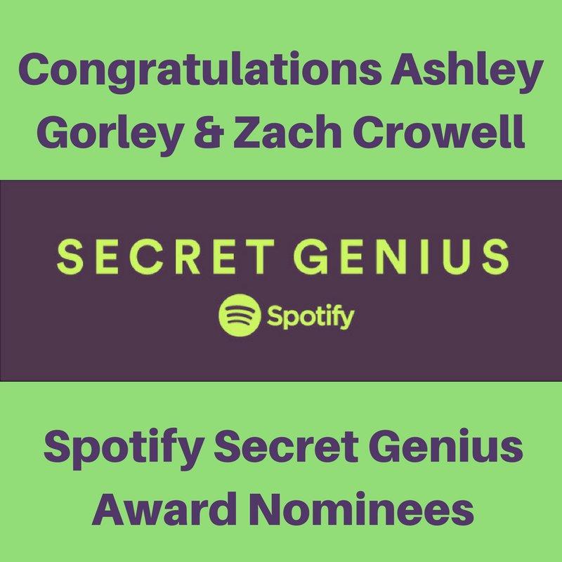 Atlas/Combustion Congratulate Spotify Secret Genius nominees Ashley Gorley & Zach Crowell