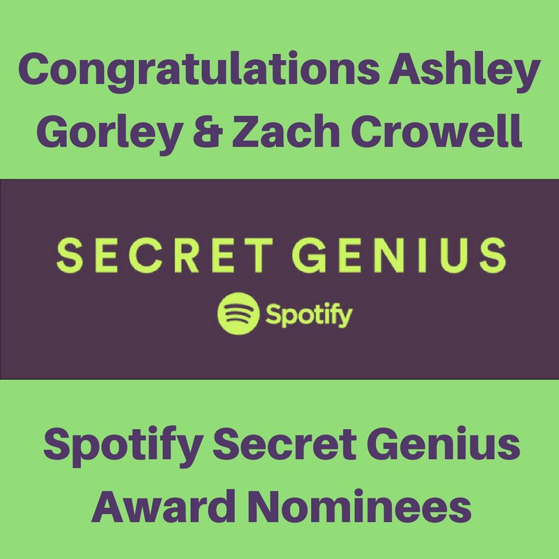 Atlas/Combustion Congratulate Spotify Secret Genius nominees Ashley Gorley & Zach Crowell